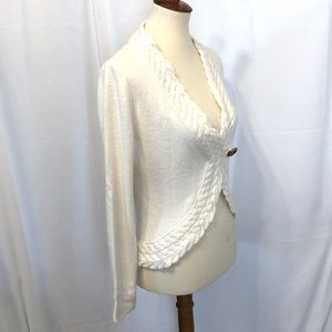 Ann Taylor sweater cardigan one button M white